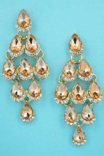 "Light Peach/Clear Gold 5 Row Pear Stone 2.5"" Post Dangle Earring"