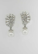 Pearl/Clear Silver Top Lead Shape Bottom Round Stone Earring