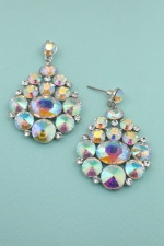 "AB  Silver Multi Stone Cluster 2"" Dangle Post Earring"