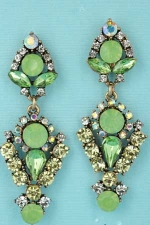 Olivine/Clear Gold Middle Emerald Stone Post Earring