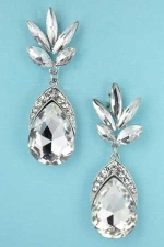 Clear Silver Rimmed Pear/Marquise Stone Earring