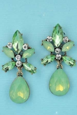 Olivine/Gold Marquise/Pear/Round Stone Post Earring
