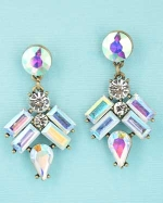Aurora Borealis/Clear Gold Baguette/Pear/Round Stone Post Earring