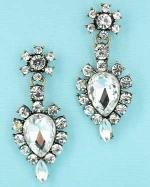 Clear Antiquegold Medium Pear/ Small Round Stone Dangle Earring