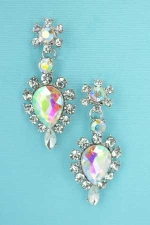 "AB Clear Silver Pear/Marquise Stone 2"" Earring"