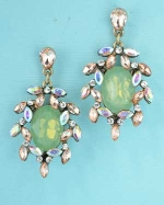 Peridot/Light Peach Antiquegold Medium Center Oval Stone Dangle Post Earring