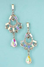 AB Clear Silver Round/Baguette/Pear Stone Earring