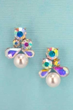 White Pearl/AB Silver Round/Pearshape Stone Earring