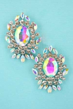 AB Clear Silver Roud/Marquise/Framed Pear Stone Earring