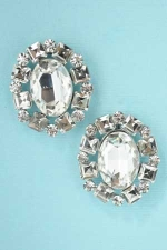Clear Silver Oval/Princess/Round Stone Earring
