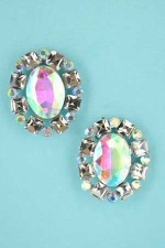 AB Clear Silver Oval/Princess/Round Stone Earring