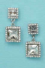 Clear Silver Framed Princess Stone Earring