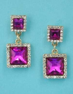 "Fuchsia/Clear Gold Two Linked Stone Square Shape 1.5"" Post Earring"
