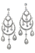 Clear/Silver Half Moon Chandelier Earring