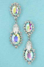 AB/Clear Silver Marquise/Oval Stone Earring