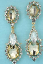 Topaz/Clear Gold Three Medium Oval Small Round Stone Dungle Post Earring
