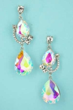 AB Clear Silver Pear/Round Stone Dangle Earring