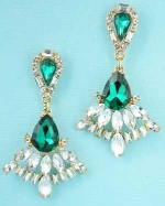 Emerald/Clear Gold Framed Multi Marquise/Medium Pear Stone Dangle Earring