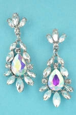 "Aurora Borealis/Clear Silver Framed Center Pear Stone 2"" Earring"