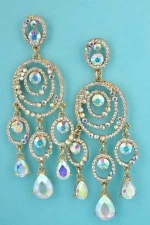 "Aurora Borealis/Clear Gold Multiple Stones Dangling 3.5"" Post Earring"