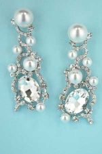 """Pearl/Clear Silver Multiple Pearl Stone Medium Oval Stone 2.5"""""""