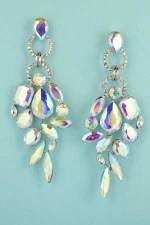 "Aurora Borealis/Clear Silver Multiple Stone Framed 2.8"" Post Earring"
