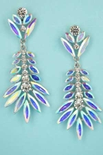 "Aurora Borealis/Clear Palm Leaf 2.2"" Post Earring"