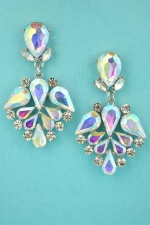 "Aurora Borealis/Clear Silver Framed Multiple Stone 1.5"" Earring"