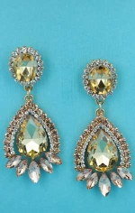 "Light Colorado/Light Peach Gold Multiple Stones Framed  2"" Post Earring"
