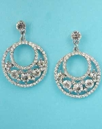 """Clear/Silver Round Shape/Round Stone 1.5"""" Post Earring"""