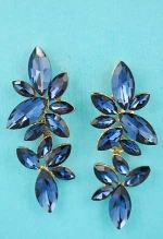 """Montana Navy/Gold Multiple Leafs Marquise Stone 2"""" Earring"""