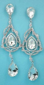 """Clear/Silver Big Pear Small Round Stone 3"""" Post Earring"""