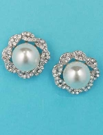 "Pearl/Clear Silver Single Big Pearl Round Stone 1"" Earring"