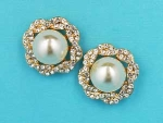 "Pearl/Clear Gold Single Pearl Stone 1"" Post Earring"