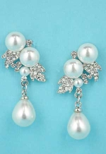 "Pearl/Clear Silver Multi Pearl Stone 1.5"" Post Earring"