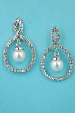 "Pearl/Clear Center Dangle Pearl Round Post 2"" Earring"