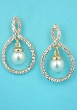 "Clear Gold Center Dangle Pearl Round Stone 2"" Post Earring"