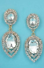 """Clear/Gold Leave Shape Round Linked 2"""" Post Earring"""
