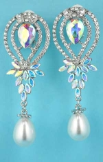 "Pearl/Aurora Borealis Silver Multiple Stone Dangle Post 2.5"" Earring"