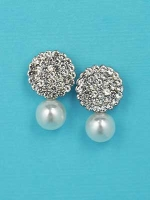 "Pearl/Clear Silver Top Round Shape Single Pearl 1"" Post Earring"