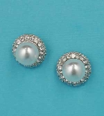 Pearl/Clear Silver Single Pearl Round Shape Earring