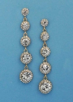 """Clear/Gold Five Linked Round Stone 3"""" Post Earring"""