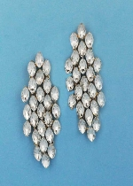 """Clear/Gold 3"""" Multiple Marquise Stone Post Earring"""