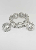 Clear/Silver Clip Earring/Bracelet Round Stone