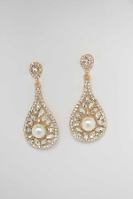 Pearl/Clear Gold Pearshape Post Earring