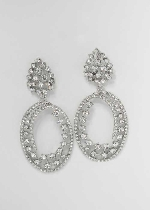 Clear/Silver Top Leaf Bottom Oval Shape Earring