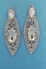 "Clear/Silver Marquise Shape Round Stone 3"" Post Earring"