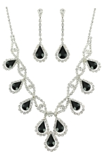 Jet/Clear/Silver Teardrop Charms on a Scallop Setting Necklace Set