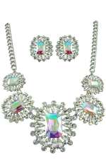 AB/Clear/Silver Square Starburst Necklace Set