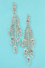 Clear/Silver Long Dangle With Round Stone Post Earring